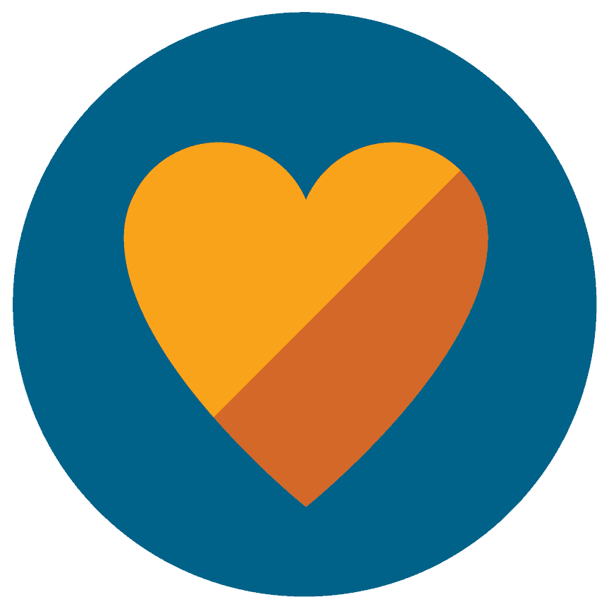 colorful icon graphic of yellow and orange heart in blue circle
