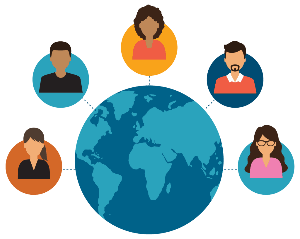 colorful icon graphic of teachers connecting around the globe