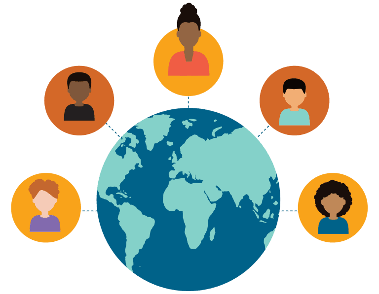 colorful icon graphic of teacher and students connecting around the globe