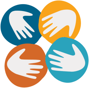 colorful icon graphic of hands together
